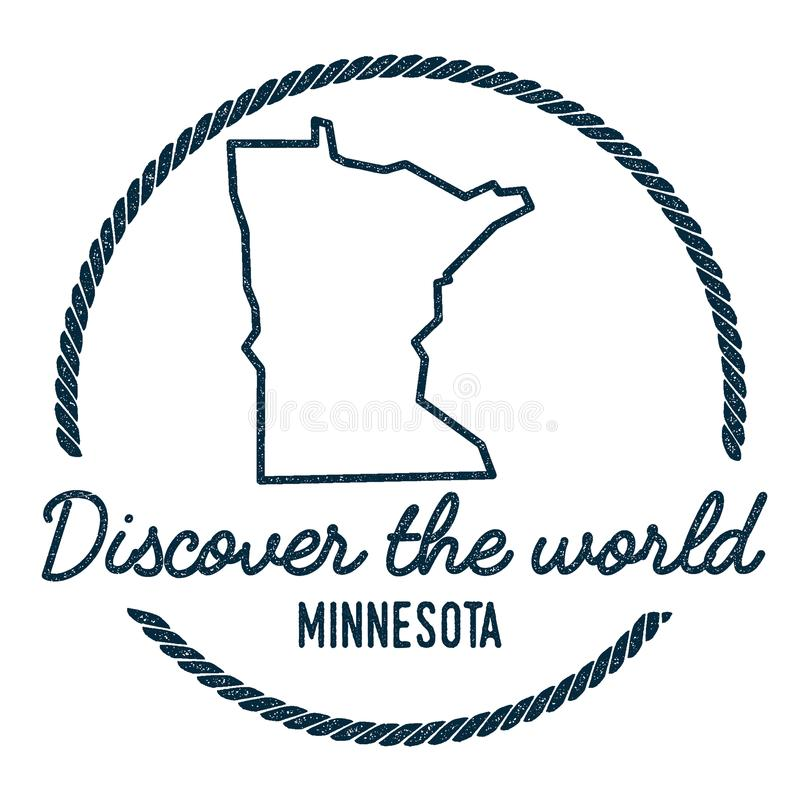 Esquema del mapa de Minnesota El vintage descubre el mundo libre illustration