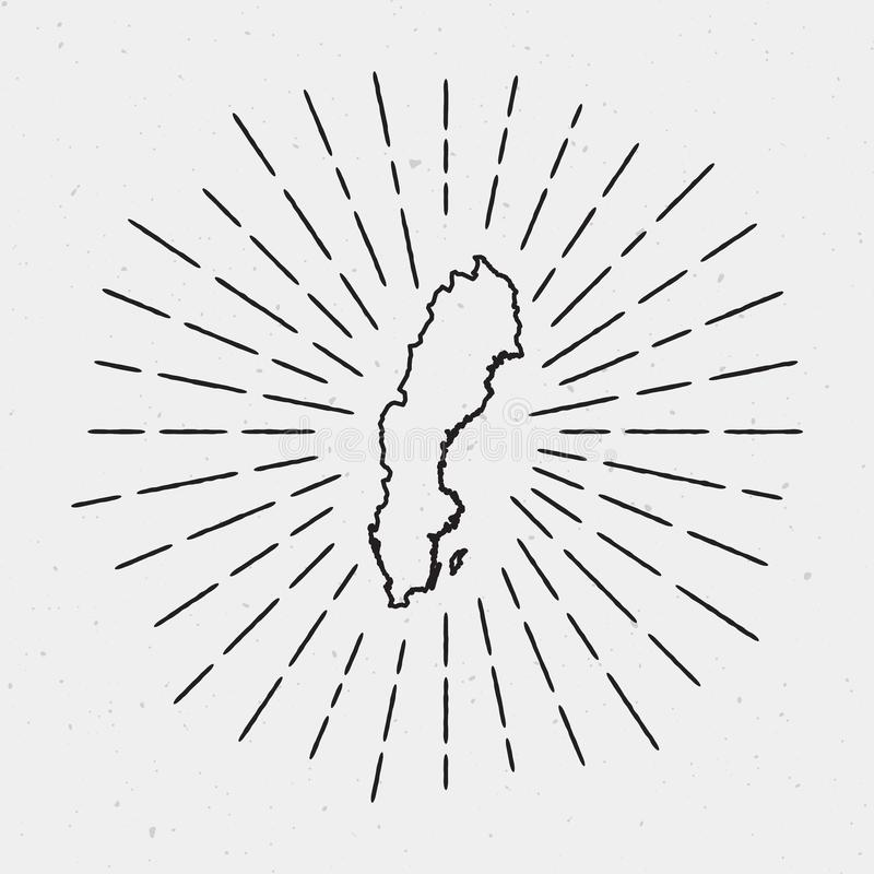 Esquema del mapa de Suecia del vector con resplandor solar retro stock de ilustración