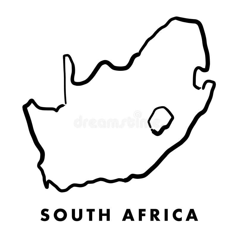 Esquema del mapa de Suráfrica stock de ilustración