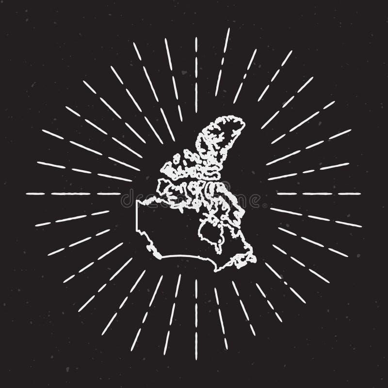 Esquema del mapa del vector de Canadá con resplandor solar del vintage libre illustration