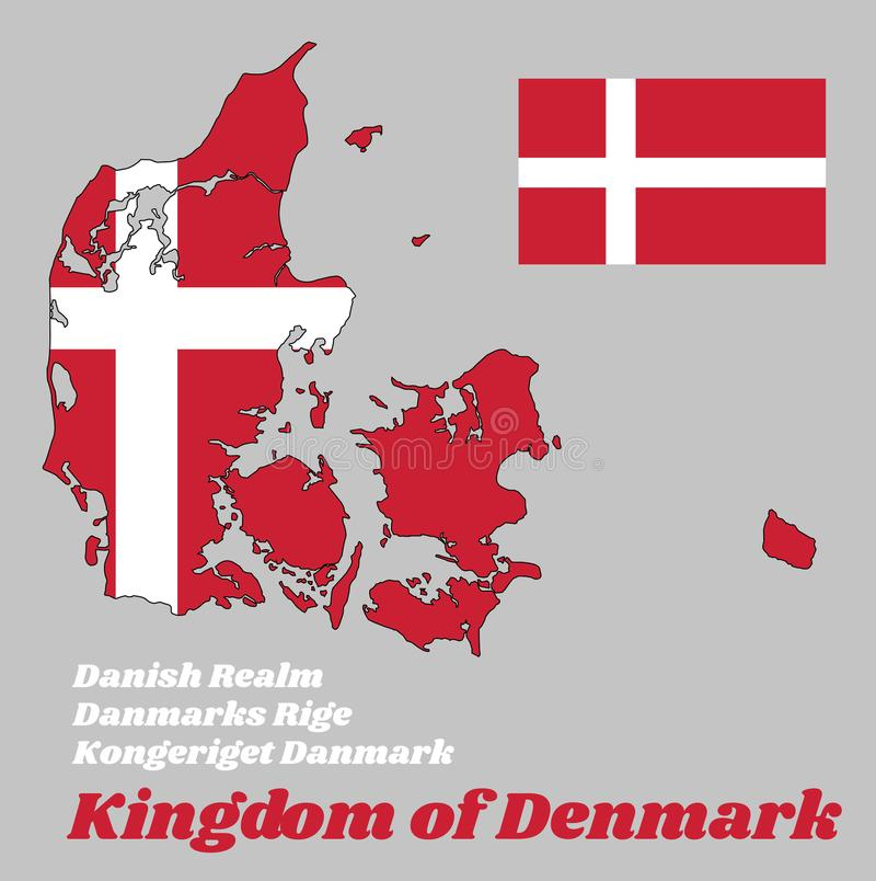 Esquema del mapa y bandera de Dinamarca, es rojo con una cruz escandinava blanca que extienda a los bordes de la bandera stock de ilustración