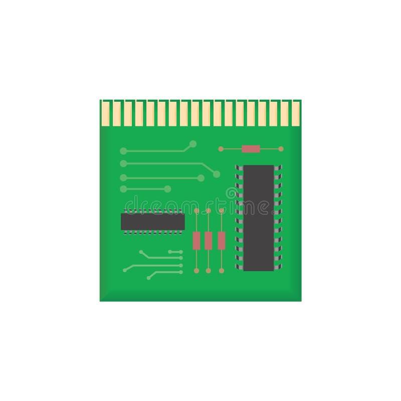 Esquema del microchip Icono mínimo aislado microprocesador libre illustration