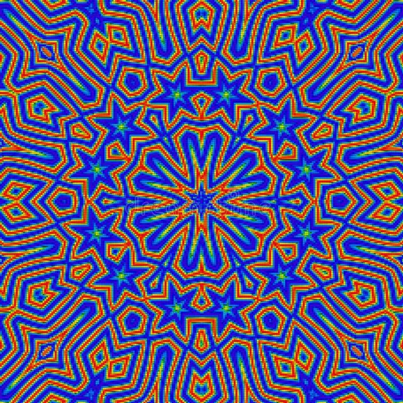 Esquema del modelo oriental para el bordado cruzado, arabesque del azul del mosaico ilustración del vector