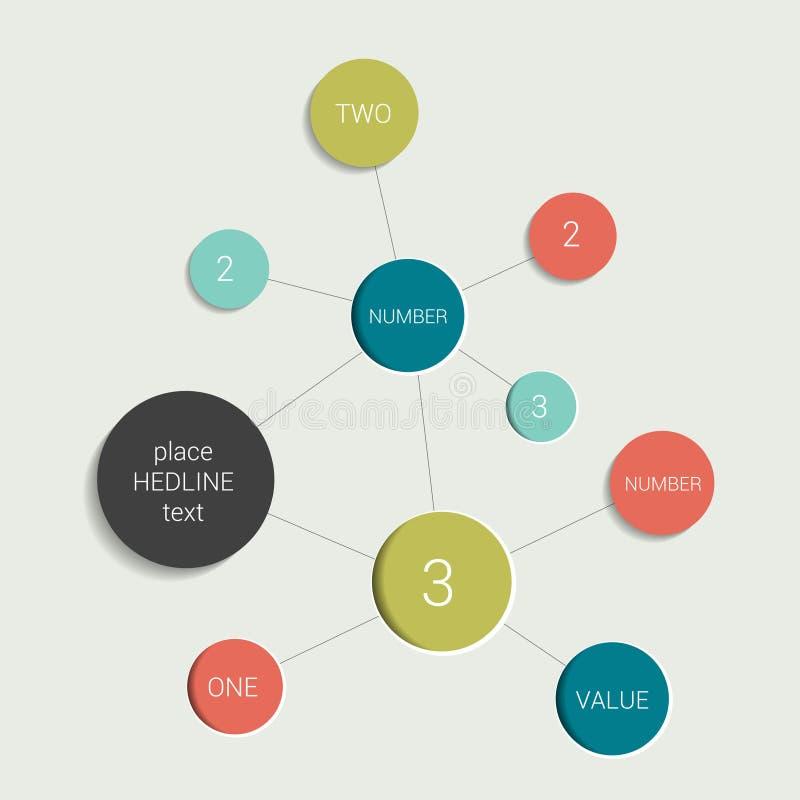 Esquema del organigrama del círculo Elemento de la carta de Infographics stock de ilustración