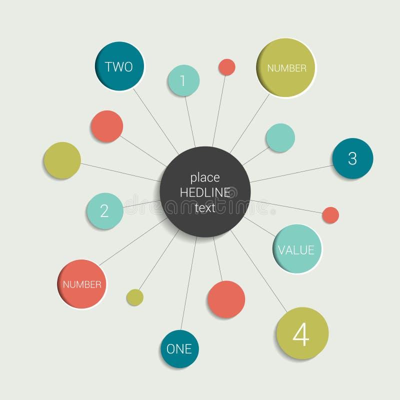 Esquema del organigrama del círculo Elemento de la carta de Infographics ilustración del vector