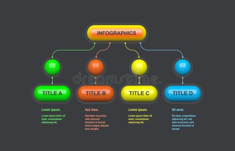 Esquema del organigrama Diseño de Infographic con 4 opciones, pasos o procesos plantilla del vector 3d para el diagrama, la prese ilustración del vector