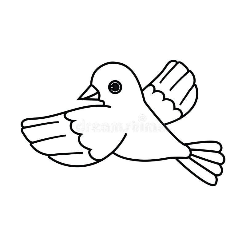 Esquema del pájaro de vuelo (saque) ilustración del vector