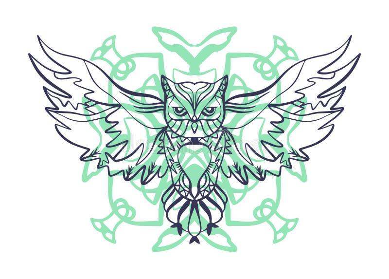 Esquema del tatuaje del búho Estilo tribal de Boho Línea ornamentos étnicos Cartel, arte espiritual, símbolo de la sabiduría Arte ilustración del vector