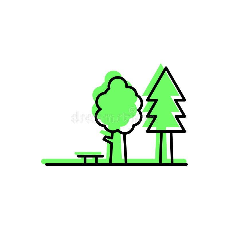 Esquema del terraplén del árbol del parque libre illustration