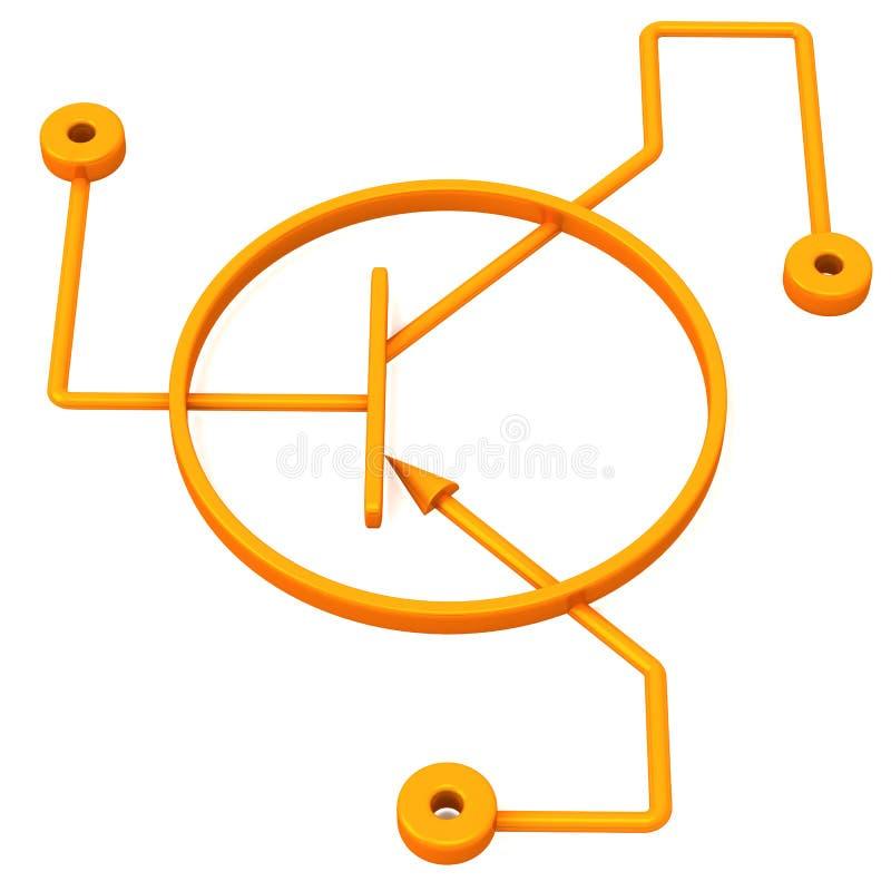 Esquema del transistor, 3d ilustración del vector