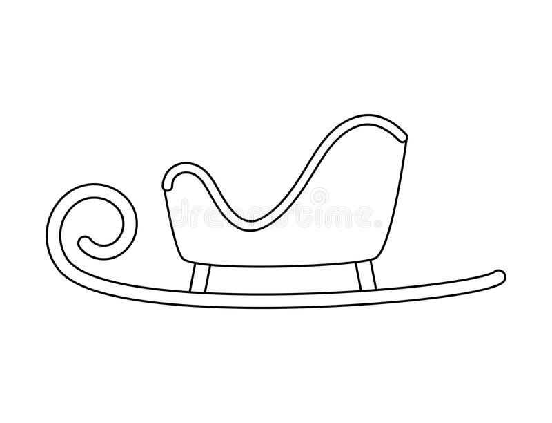 Esquema del trineo de Papá Noel para el diseño de la Navidad aislado en la parte posterior del blanco stock de ilustración