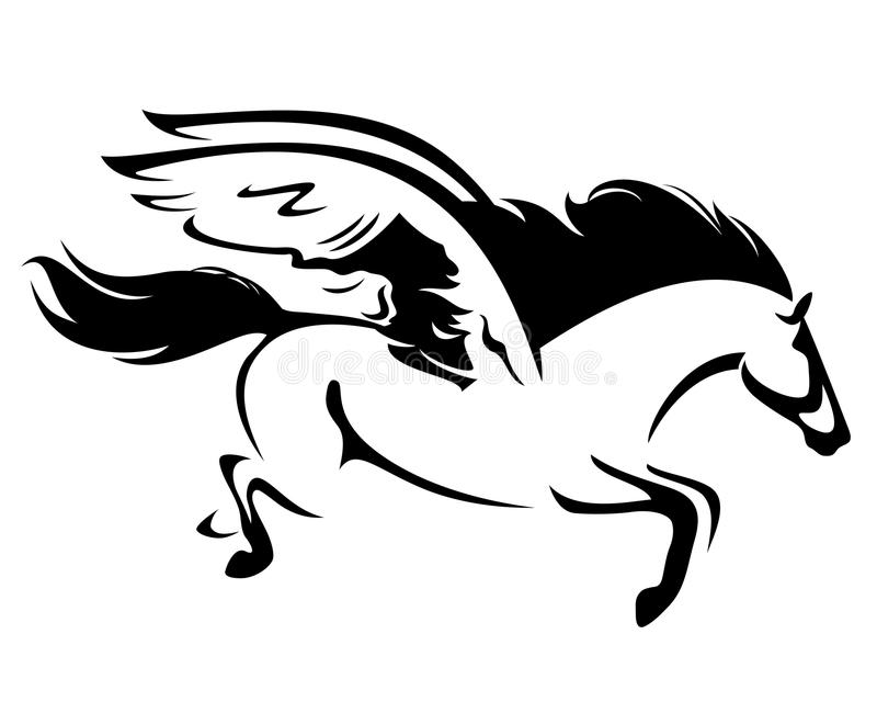 Esquema del vector del negro del caballo de Pegaso del vuelo libre illustration