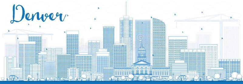 Esquema Denver Skyline con los edificios azules libre illustration