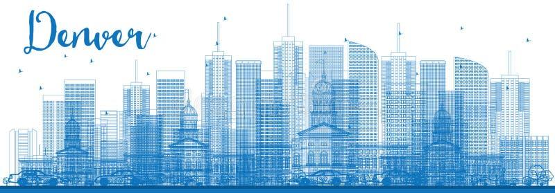 Esquema Denver Skyline con los edificios azules stock de ilustración