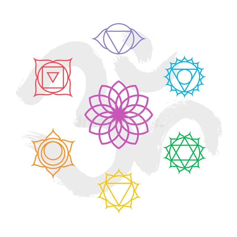 Esquema determinado del icono del chakra del color con el fondo de OM ilustración del vector