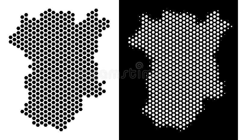 Esquema do favo de mel do mapa de Chechnya ilustração stock