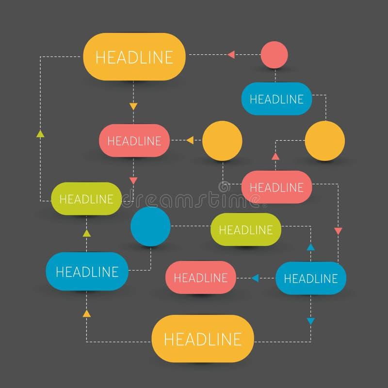 Esquema do fluxograma Elementos de Infographics ilustração stock