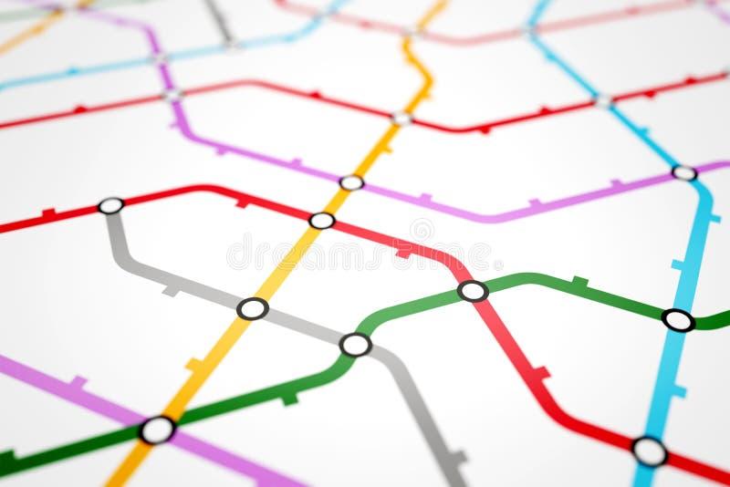 Esquema do metro, transporte de estrada de ferro ou mapa colorido do ônibus da cidade ilustração stock