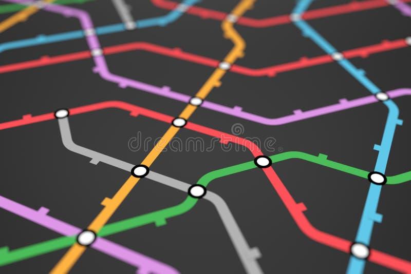 Esquema do metro, transporte de estrada de ferro ou mapa colorido do ?nibus da cidade ilustração do vetor
