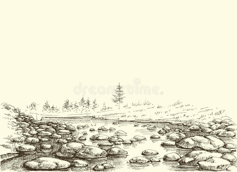 Esquema do rio das montanhas ilustração royalty free