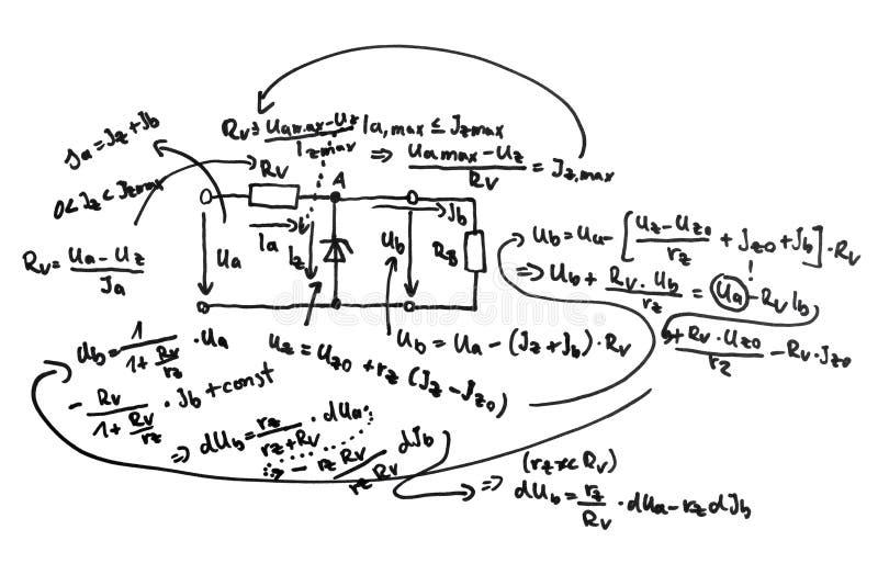 Esquema e equações de circuito ilustração royalty free