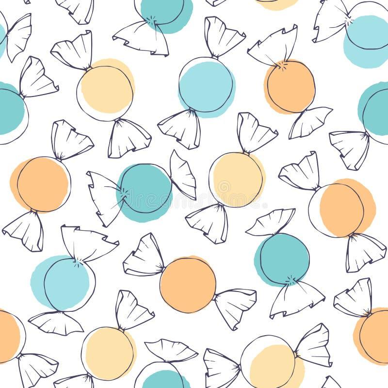 Esquema exhausto del caramelo del vector de la mano con el modelo inconsútil de los círculos azules y amarillos en el fondo blanc ilustración del vector
