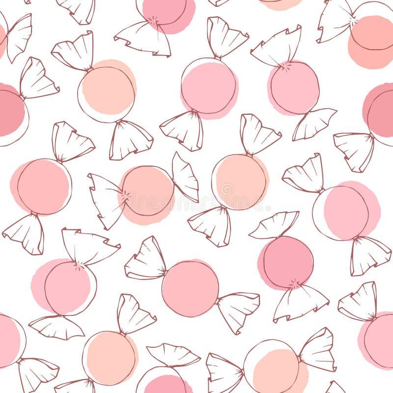 Esquema exhausto del caramelo del vector de la mano con el modelo inconsútil de los círculos del rosa y del melocotón en el fondo stock de ilustración