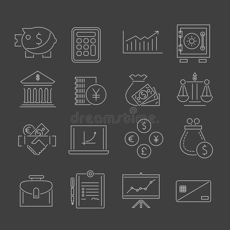 Esquema fijado iconos de las finanzas stock de ilustración