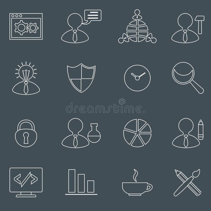 Esquema fijado iconos de SEO ilustración del vector