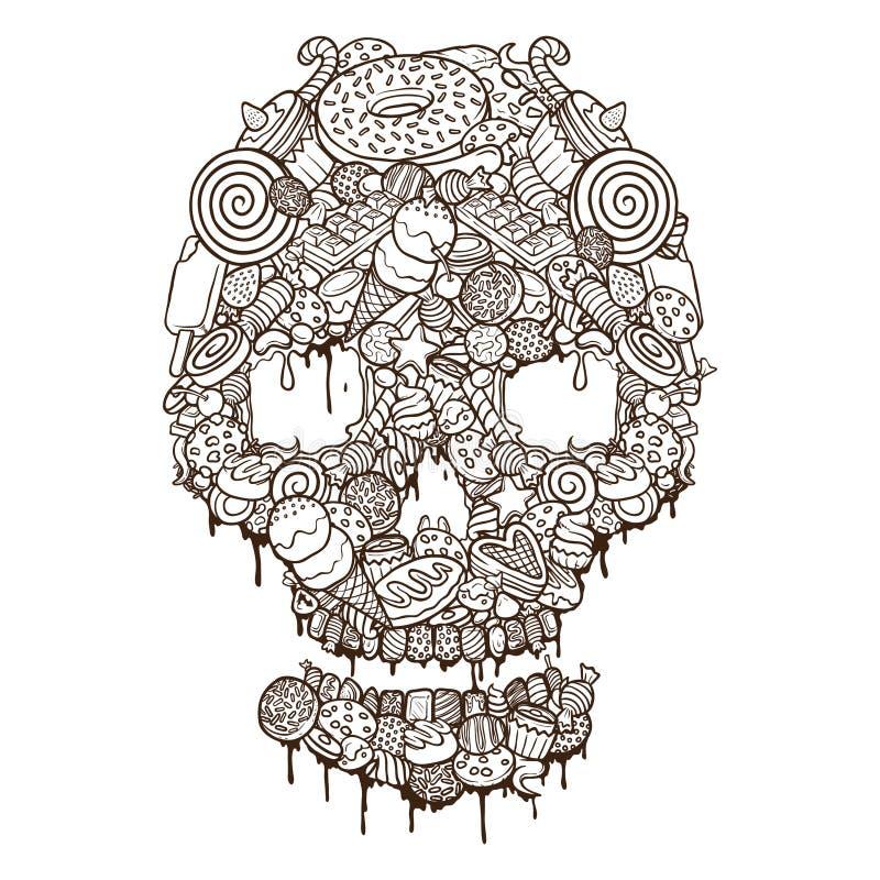 Esquema handdrawing del ejemplo del cráneo de las comidas y de las galletas libre illustration