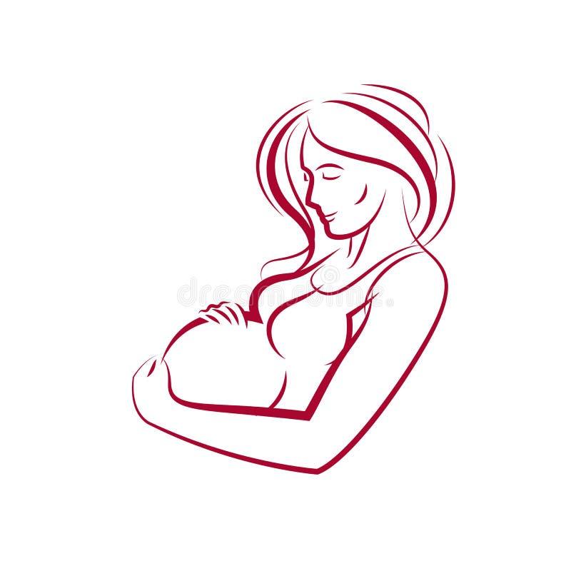 Esquema hermoso femenino embarazada del cuerpo, ejemplo dibujado vector de la futura mamá Felicidad y tema que cuida stock de ilustración