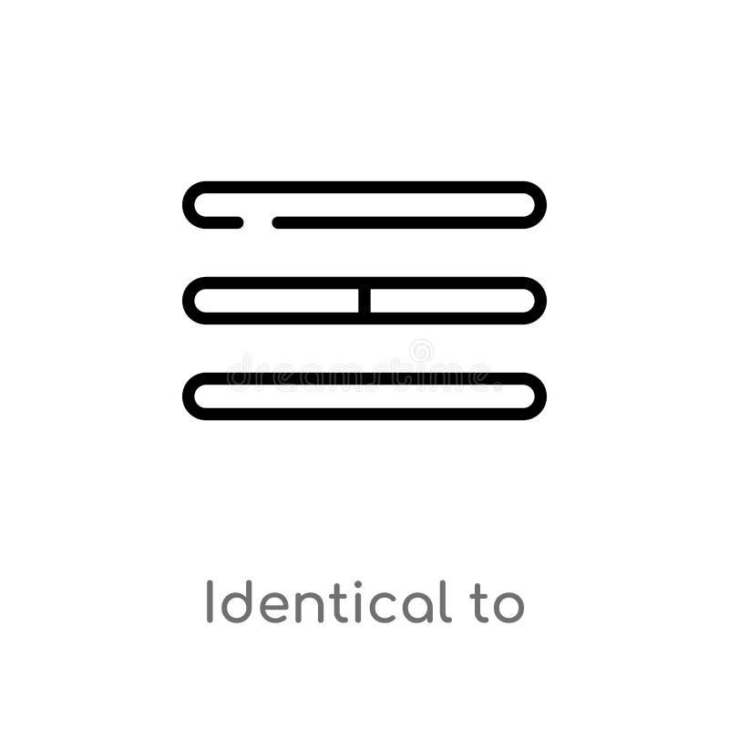 esquema idéntico al icono del vector línea simple negra aislada ejemplo del elemento del concepto de las muestras Movimiento Edit stock de ilustración