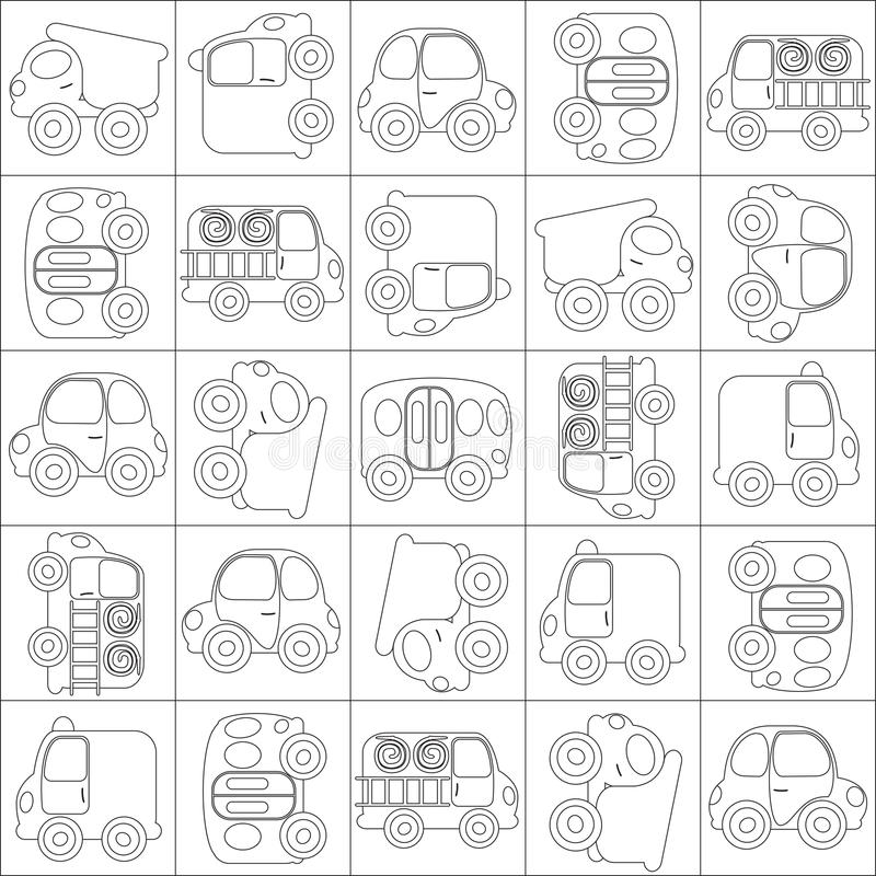 Esquema inconsútil de los coches de la historieta del vector foto de archivo
