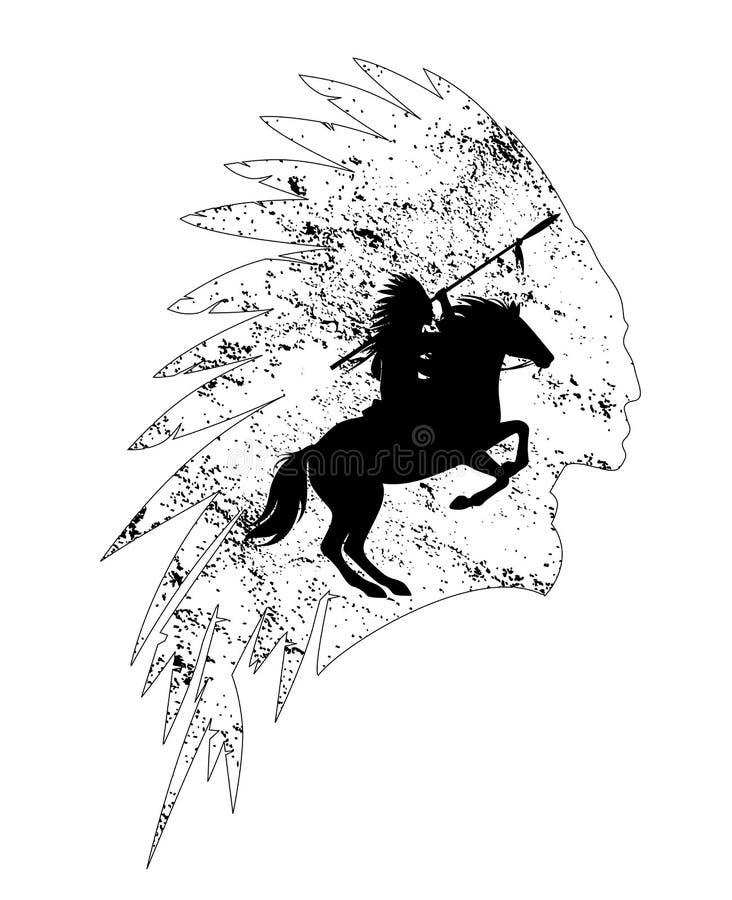 Esquema indio del vector del negro del jefe del jinete del nativo americano stock de ilustración