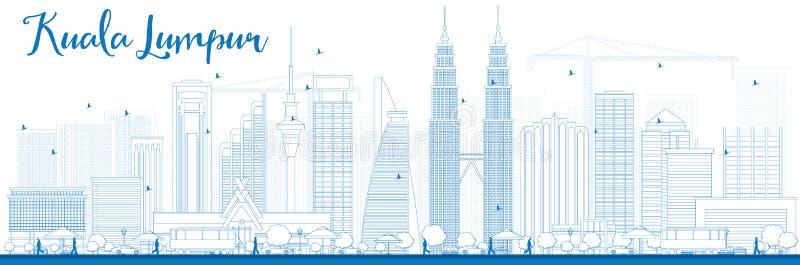 Esquema Kuala Lumpur Skyline con los edificios azules ilustración del vector