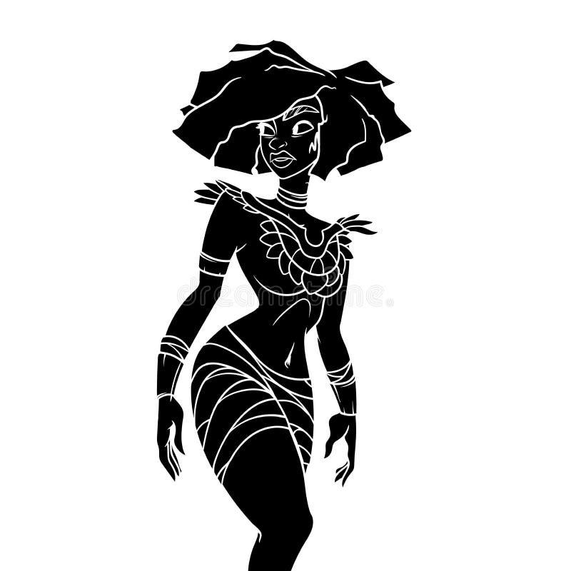 Esquema llenado negro de una mujer antigua en ropa nativa imágenes de archivo libres de regalías