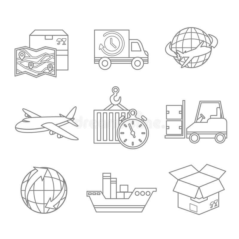 Esquema logístico de los iconos stock de ilustración