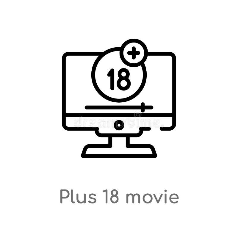 esquema más icono del vector de 18 películas l?nea simple negra aislada ejemplo del elemento del concepto del cine Movimiento Edi ilustración del vector