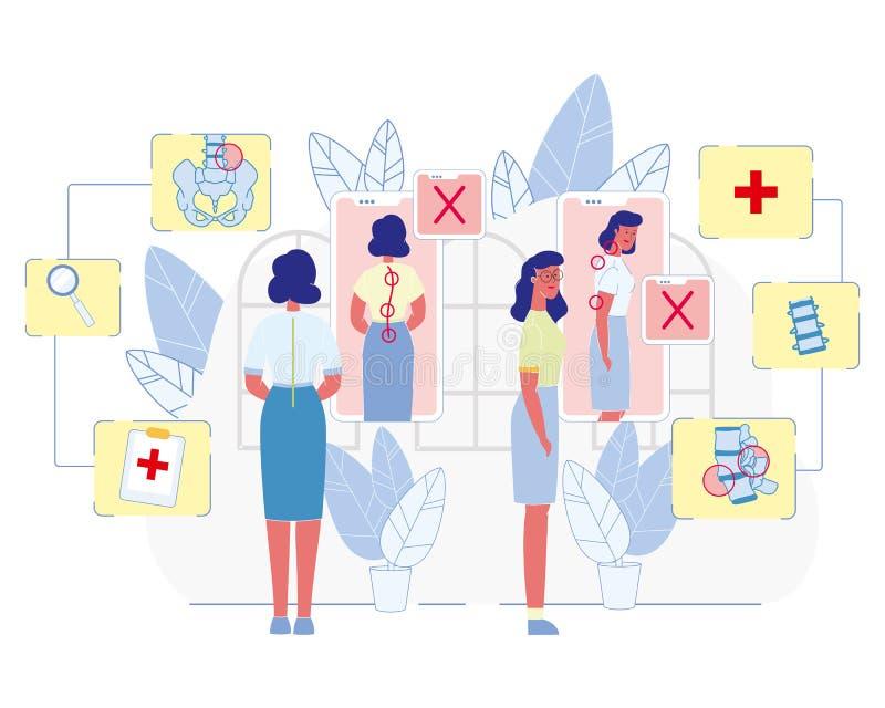 Esquema médico del vector plano del problema de la postura de las mujeres stock de ilustración