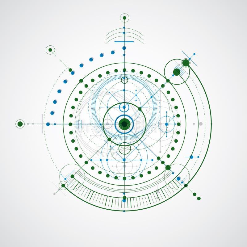 Esquema mecânico, desenho de engenharia colorido do vetor com circ ilustração stock
