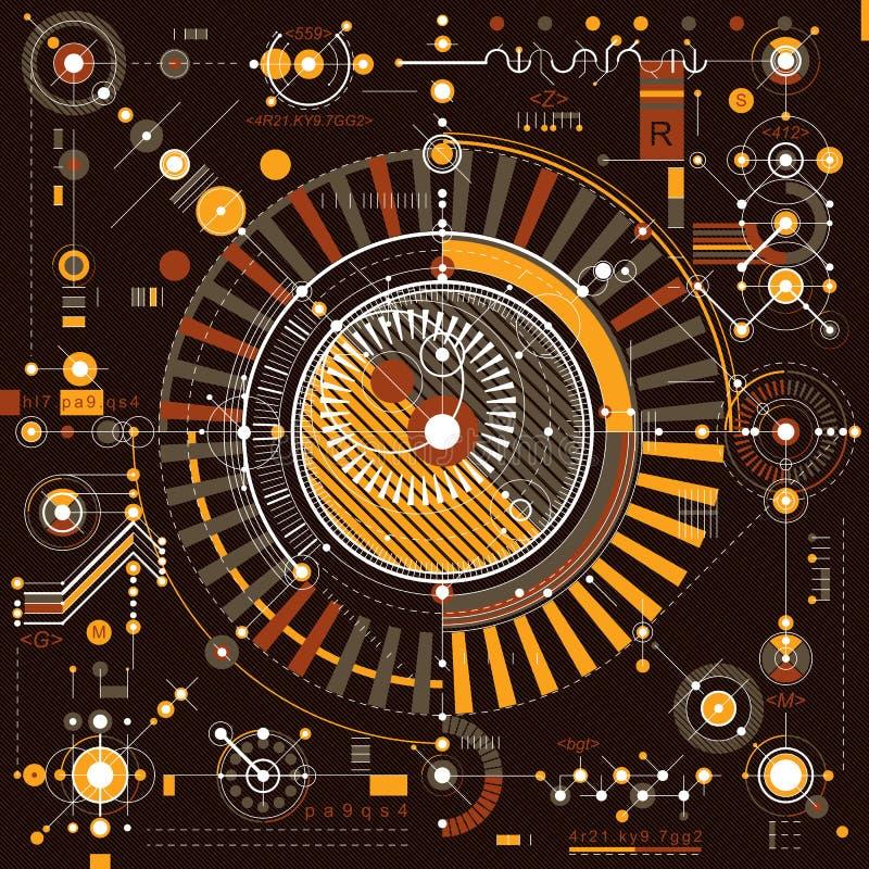 Esquema mecânico, desenho de engenharia do vetor com paridade geométrica ilustração do vetor