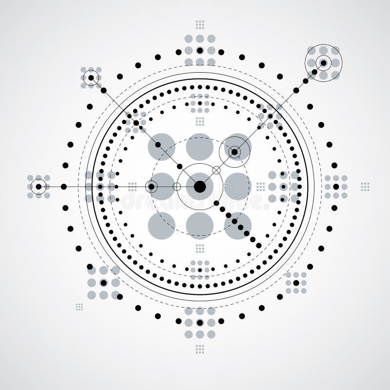Esquema mecânico, desenho de engenharia monocromático do vetor com ci ilustração royalty free