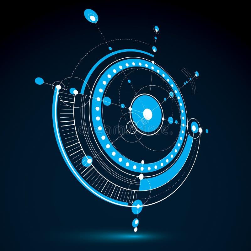 Esquema mecânico tridimensional, desenho de engenharia do vetor ilustração stock