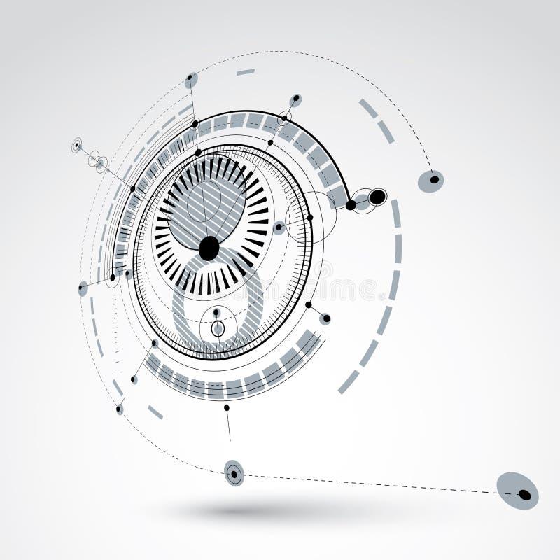 Esquema mecânico tridimensional, engenharia monocromática do vetor ilustração royalty free