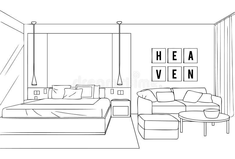 Esquema minimalista interior de la habitación stock de ilustración