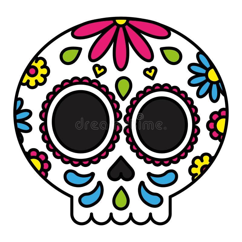 Esquema negro aislado floral colorido del cráneo del azúcar stock de ilustración