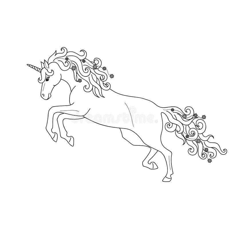 Esquema negro aislado que galopa, unicornio de salto en el fondo blanco Vista lateral Líneas de la curva Página del libro de colo stock de ilustración