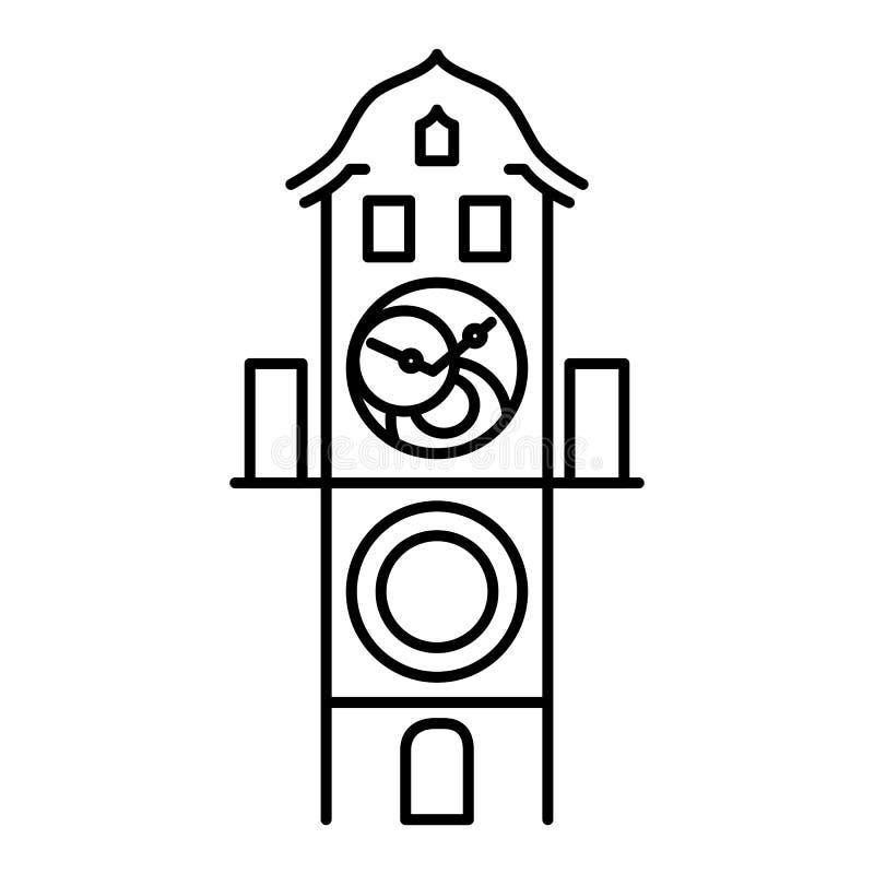 Esquema negro simple aislado reloj astronómico del icono de Praga stock de ilustración