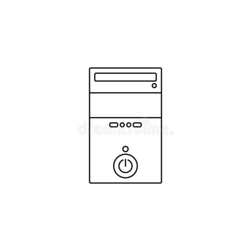Esquema o línea ejemplo del icono de la caja del ordenador del vector del estilo stock de ilustración