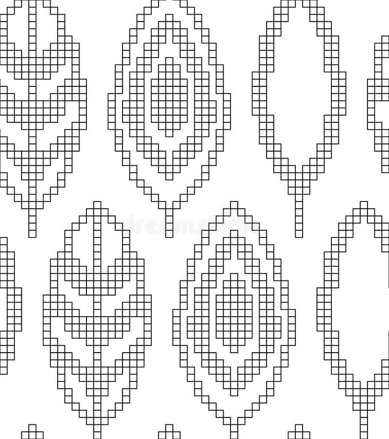 Esquema para fazer malha Teste padrão geométrico sem emenda com folhas decorativas Textura do vetor ilustração stock
